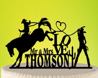 Cowboy Wedding Cake Topper, Country Cake Topper, Cowboy Rustic Topper, Catching his Ride, Western Wedding, Rustic Wedding Topper L2-01-008