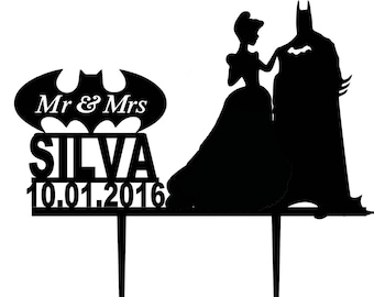 BATMAN Wedding Cake Topper, Disney cake topper, Cinderella cake topper SUPERHERO Wedding Topper Topper for Wedding Mr Mrs Topper L2-01-005