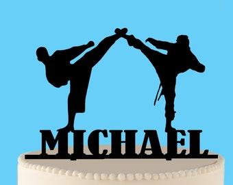Ninja Birthday Cake Topper Karate Silhouette Party Martial Arts Judo Kung Fu Aikido
