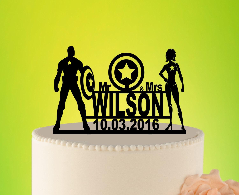 SUPERHERO wedding Cake Topper Captain America cake topper   Etsy