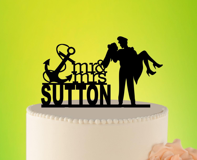 Wedding Cake Topper Sailor Sailor Wedding Decor Topper with   Etsy