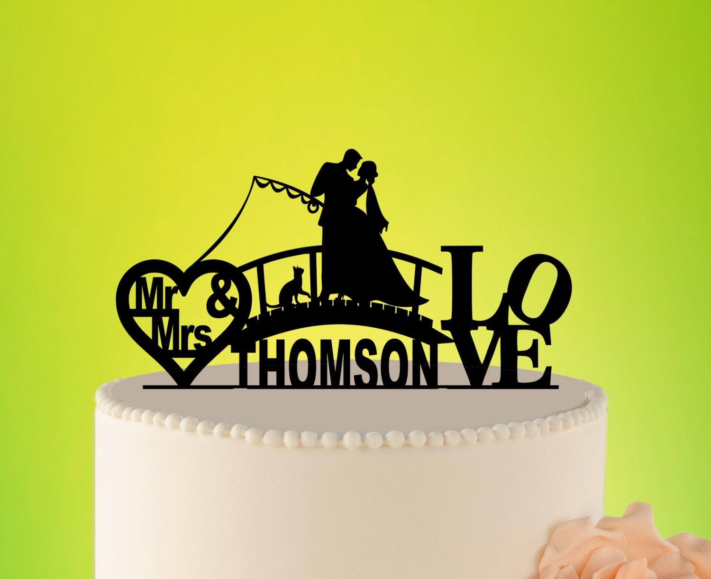 FISHING wedding cake topper Hook On Love Cake Topper Fishing | Etsy