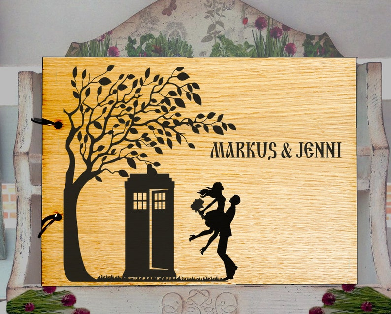 TARDIS Guest Book Wood Custom Wedding guest book Doctor Who guest book alternative Rustic Wedding Guest Book guest book wedding L2-04-002