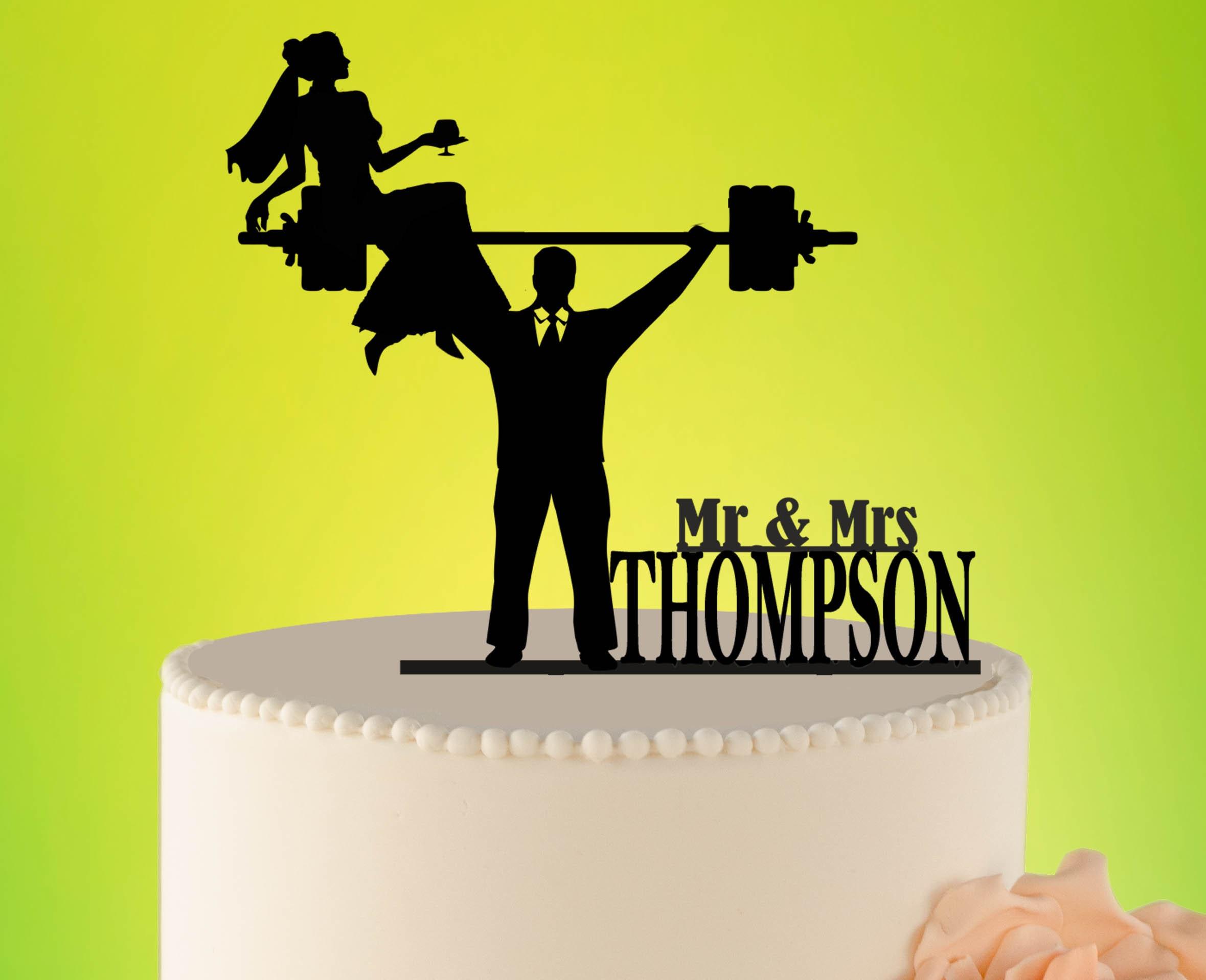 Fitness Wedding Cake Topper Bodybuilder Cake Topper sport | Etsy