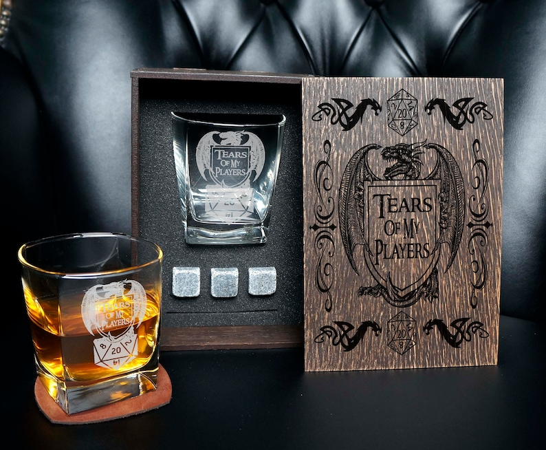 Dungeon Master Personalized whiskey gift set in wood box image 0