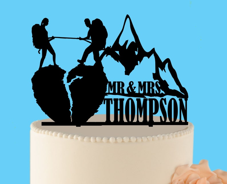 Wedding Cake Toppers Personalized Hiking Couple Dog Wedding Cake Topper Backpacking Mr Mrs Outdoor Home Garden Vibranthns Lk