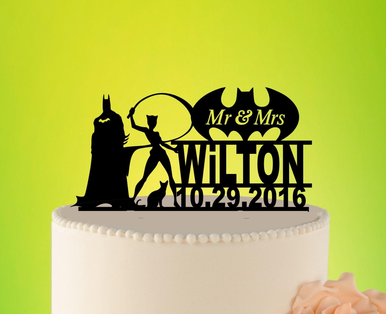 Wedding Cake Topper BATMAN and CATWOMAN Superhero Cake   Etsy