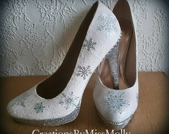 43c2c5e7a7ea5 Snowflake Winter Sparkly Customised Shoes
