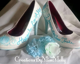 f68a06eee213 Cinderella Inspired Customised Shoes  Wedding Shoes  Customised Wedding  Shoes  Cinderella converse  Cinderella pumps