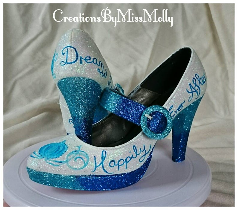 a4b38de021d566 Cinderella Inspired Customised Wedding Shoes  Disney Shoes