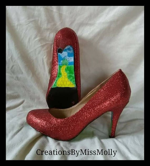 Sparkly red Dorothy Wizard of Oz inspired shoes  red glitter  2d7a0d405
