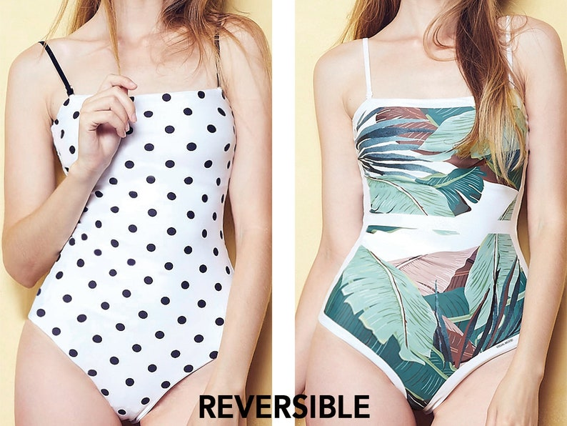 REVERSIBLE One piece swimsuit Swimsuit bathing suits swimwear monokini floral tropical swimsuits on sale cute swimsuits for women plus size