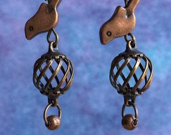 Copper Birds on Cage Earrings