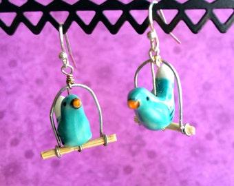 Ceramic Birds on Wooden Swings Earrings