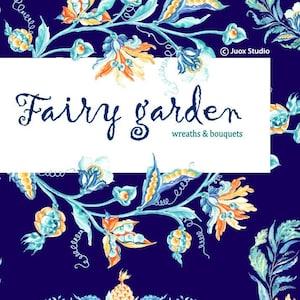 pineapple Garden wonderland stickers Fairy Flowers Wedding invitation Watercolor Painting Clipart digital frames /& bouquets