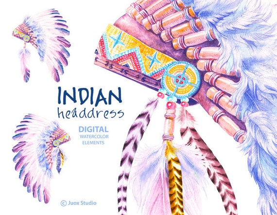Indian Headdress Hat Watercolor Clipart Digital Elements