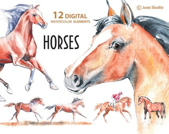 Horses Watercolor Painting Clipart, Stickers, Digital Elements, Derby, Boho invitation, Greetings Diy card