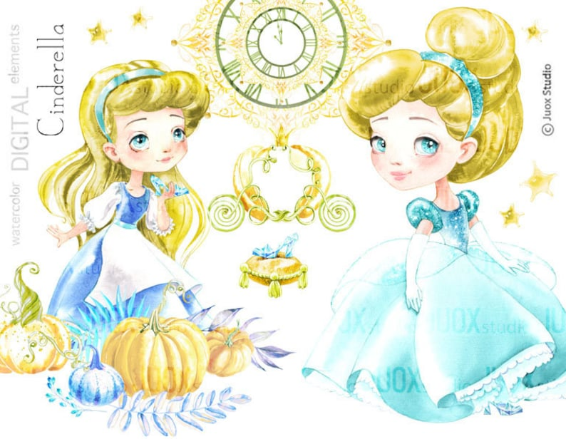 Cinderella clipart, Fairy tale Princess, Watercolor Clipart, Digital  Elements, Party, Fabulous invitation, Greetings Diy