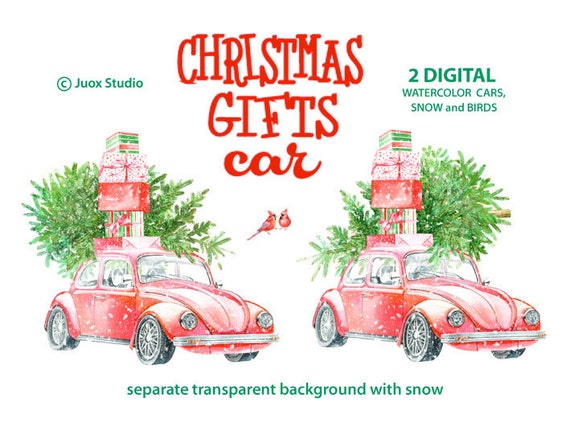 Gifts Car Watercolor Elements Clipart Digital Pine Tree Retro Car Holiday invitation New Yer Greetings Diy card