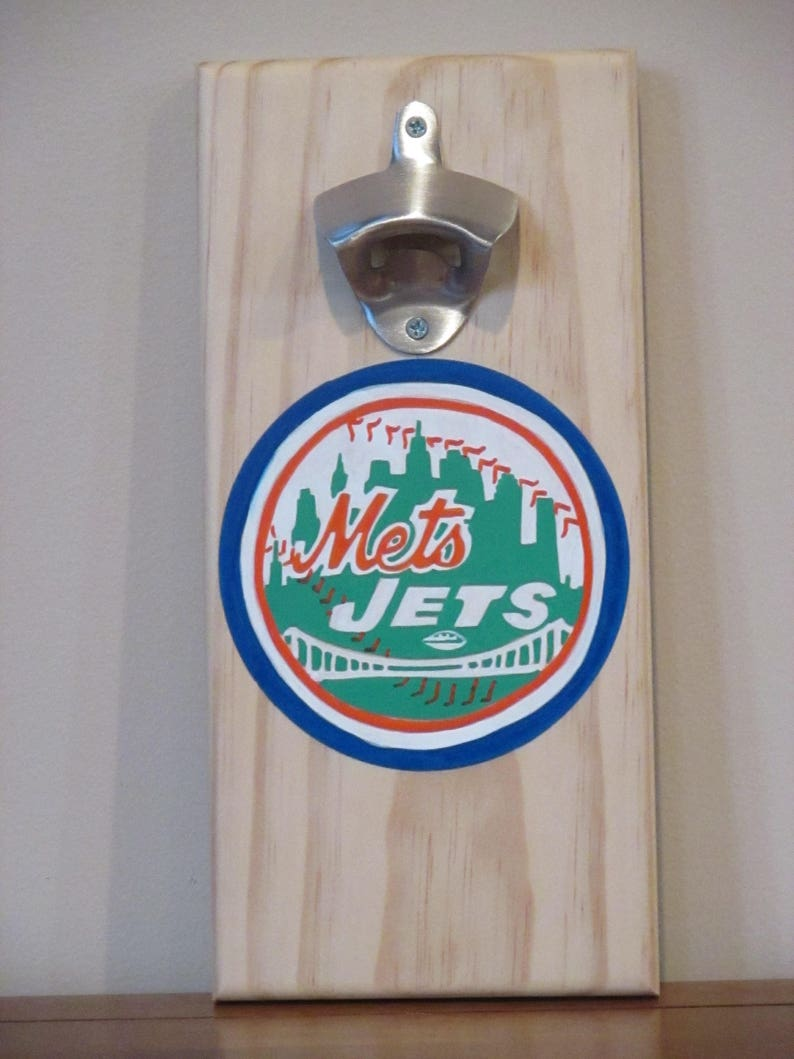 6329b6ae2bb NY METS and JETS Wall Mounted Bottle Opener magnetic cap   Etsy