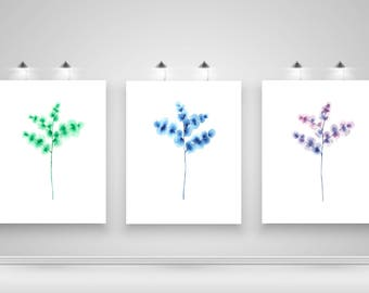 Set of 3 Leaf Print, Botanical Print Set, Set of 3 Wall Art, Watercolour Leaf Print Set, Scandinavian Print Set of 3, Watercolour Art Prints