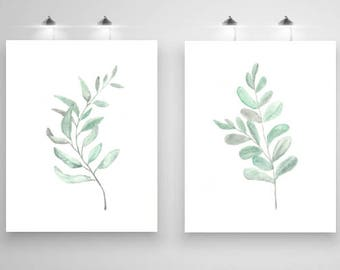 Botanical Print Set, Leaf Watercolour Art, Fern Watercolour Print, Art Print Set of 2, Set of 2 Prints, Set of 2 Wall Art