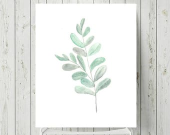 Botanical Prints, Scandinavian Art Print, Minimalist Botanical Print, Green Wall Art, Watercolour Leaf Print, Botanical Watercolour Artwork