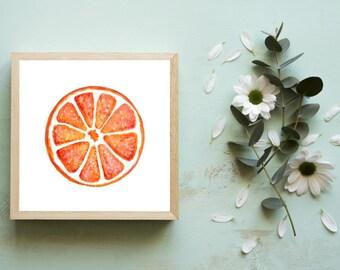 Miniature Orange Art Print, Tiny Art Prints, Kitchen Art Prints, Small Art, Small Paintings, Citrus Fruit Art, Dorm Decor, Small Acrylic 4x4