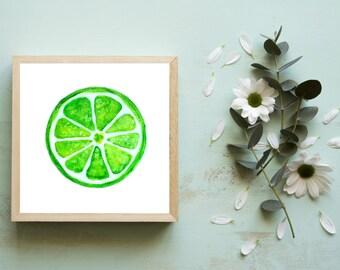 Miniature Lime Art Print, Tiny Art Prints, Kitchen Art Prints, Small Art, Small Paintings, Fruit Wall Art, Dorm Decor, Small Acrylic 4x4