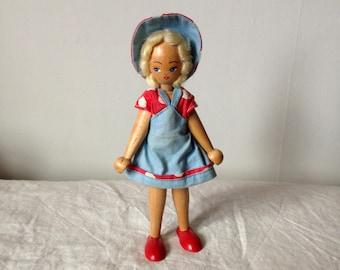 Vintage Wooden Doll - Polish Peg Doll - Old Wooden Doll - Traditional Polish Doll - Retro Wooden Doll
