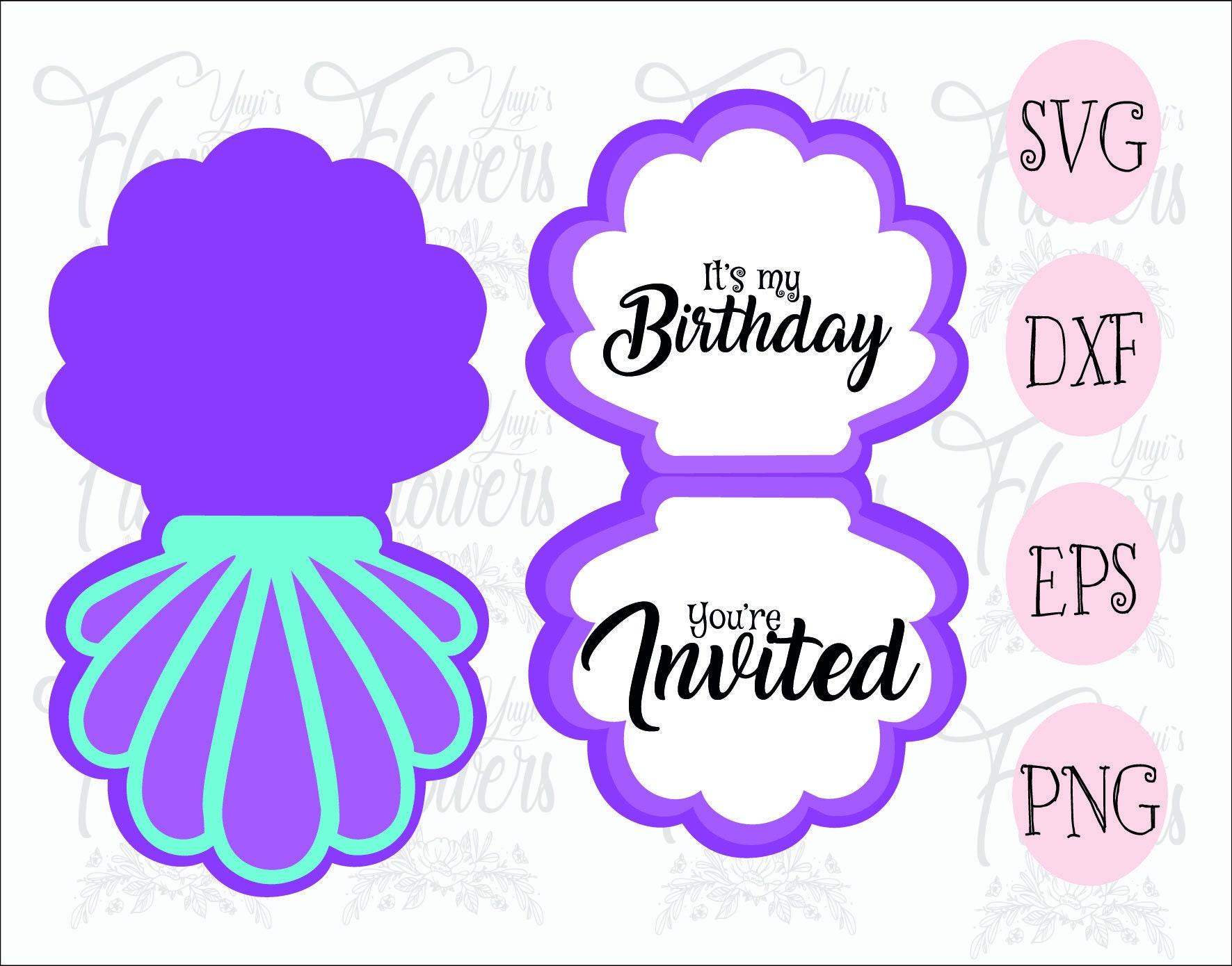 seashell card invitation svg     mermaid party invitation