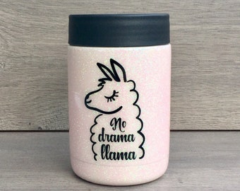 Glitter Can Cooler ~ Llama Gift ~ Ready to Ship ~ No Drama Llama ~ Llama Can Cooler ~ Stainless Can Cooler ~ RTIC Can Cooler