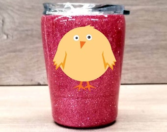 Kids Personalized Glitter Tumbler ~ Chick
