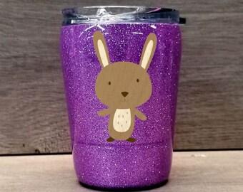 Kids Rabbit Tumbler ~ Glitter Kids Tumbler ~ Rabbit Glitter Cup ~ Personalized Glitter Tumbler ~ 8 oz. HOGG Tumbler