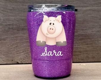 Kids Pig Tumbler ~ Glitter Kids Tumbler ~ Pig Glitter Cup ~ Personalized Glitter Tumbler ~ 8 oz. HOGG Tumbler