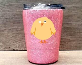 Kids Chicken Tumbler ~ Glitter Kids Tumbler ~ Kids Glitter Cup ~ Personalized Glitter Tumbler ~ Chick Tumbler ~ 8 oz. HOGG Tumbler