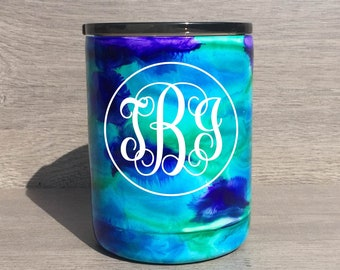 Lowball Tumbler ~ Personalized Alcohol Ink Tumbler ~ Swirl Lowball Tumbler ~ Alcohol Ink Swirl Tumbler ~ 10 oz. HOGG Tumbler