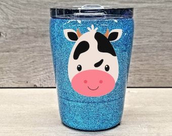 Kids Personalized Glitter Tumbler ~ Cow
