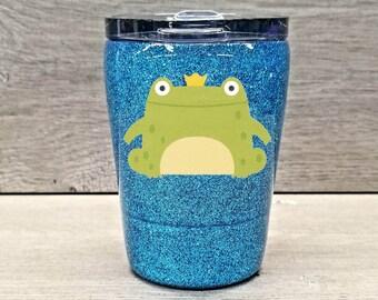 Kids Frog Tumbler ~ Glitter Kids Tumbler ~ Frog Glitter Cup ~ Personalized Glitter Tumbler ~ 8 oz. HOGG Tumbler