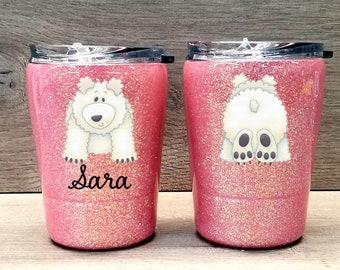 Kids Polar Bear Tumbler ~ Glitter Kids Tumbler ~ Polar Bear Glitter Cup ~ Personalized Glitter Tumbler ~ 8 oz. HOGG Tumbler