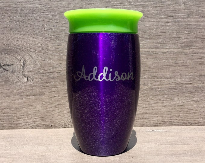 Featured listing image: Custom Sippy Cup ~ Personalized Sippy Cup ~ Engraved Sippy Cup ~ Stainless Steel Sippy Cup ~ Toddler Tumbler