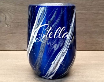 Personalized Marble Wine Tumbler