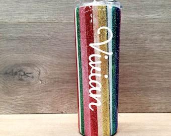 Glitter Tumbler ~ Personalized Serape Tumbler ~ Striped Tumbler ~ 20 oz. HOGG Skinny Tumbler