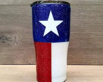 Personalized Texas Flag Glitter Tumbler