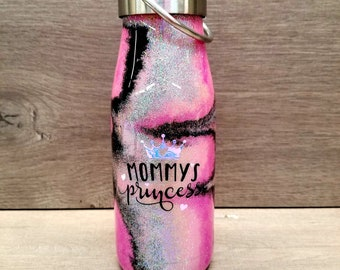 Glitter Water Bottle ~ Ready to Ship ~ Insulated Water Bottle ~ Mommy's Princess ~ Glitter Swirl Water Bottle ~ 12 oz. HOGG Bottle