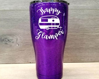 Personalized Glitter Tumbler ~ Happy Glamper