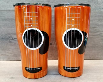Guitar Tumbler ~ Acoustic Guitar Tumbler ~ Guitar Player Gift ~ Alcohol Ink Tumbler ~ Wood Grain Tumbler ~ 20 or 30 oz. HOGG Tumbler