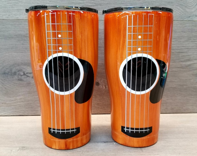 Featured listing image: Guitar Tumbler ~ Ready to Ship ~ Acoustic Guitar Tumbler ~ Alcohol Ink Tumbler ~ Wood Grain Tumbler ~ 20 or 30 oz. HOGG Tumbler