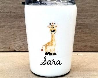 Kids Giraffe Tumbler ~ Glitter Kids Tumbler ~ Giraffe Glitter Cup ~ Personalized Glitter Tumbler ~ 8 oz. HOGG Tumbler