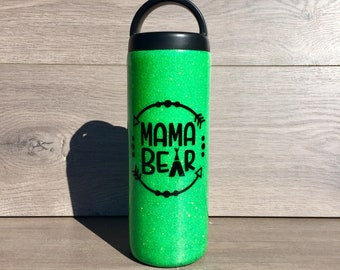 Glitter Water Bottle ~ Ready to Ship ~ Insulated Water Bottle ~ Double Walled ~ Mama Bear ~ Gym Water Bottle ~ 18 oz. Workout Bottle